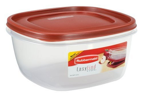 Rubbermaid 7J72 Easy Find Lid Square 14-Cup Food Storage Container