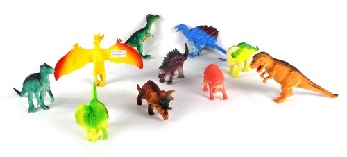Jurassic Land Deluxe 10 Piece Toy Dinosaur Animal Figures Playset, Includes a Variety of Prehistoric Animals