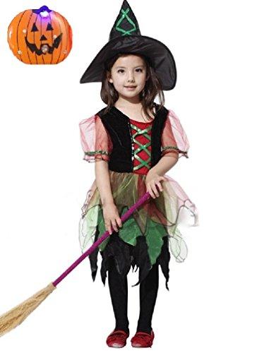 【コズミックツリー】 COSMIC TREE チビッ子 魔女 とんがり帽子 の 魔法使い キラキラ LED かぼちゃ バッチ セット ハロウィン コスプレ 衣装 (110cm-120cm, カラフル)