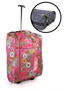 Girl Power Pink Floral Wheeled Trolley Bag/ Weekend Bag/ College Bag/ Cabin Luggage