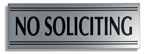 JP Signs - No Soliciting Sign - 9 X 3 Inch Engraved Premium Office Signage for Door (Silver / Black) - Not a Sticker - Keeps Unwanted Visitors Away - Highly Noticeable - Elegant for House, Office, Cafe - Professional Material - 20 Years Guarantee. (Metal Pull & Push Door Signs compare prices)