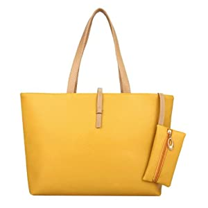niceeshop(TM) Soft PU Leather Hobo Tote Handbag with Coin Wallet,Yellow