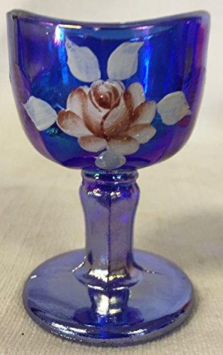 Eye Wash Cup Bath - John Bull Style - Cobalt Blue Carnival Handpainted Glass Cobalt Carnival Glass