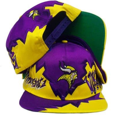 SNAPBACK HAT CAP MINNESOTA VIKINGS NFL OLD SCHOOL VINTAGE DEADSTOCK FLAT  BILL b0fb2db05