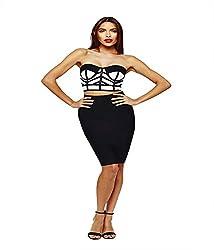 Fromycloset Women's Bandage Crop Top Skirt (FMC111111412_Black_Small)