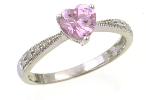 9ct White Gold Ladies' Diamond and Pink Cublic Zironia Ring Size K