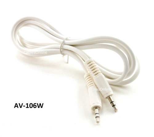 Cablesonline 6Ft 3.5Mm(1/8In) Stereo Trs Right Angle Male To Male White Audio Cable(Av-106W)
