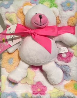 Little Beginnings Fleece Baby Blanket with Pink Plush Bear Toy - 1