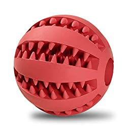 Toy Ball for Dogs [Dental Treat][Bite Resistant] Jakpak Durable Non-Toxic Strong Tooth Cleaning Dog Toy Balls for Pet Training/Playing/Chewing,Soft Rubber,Bouncy,Tennis Ball Size 2.8 Inch