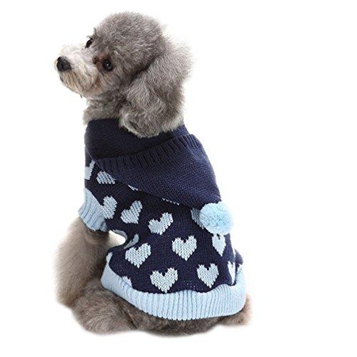 YiJee Halloween Natale Animale Domestico Cane Maglione Cranio Fiocco di Neve Design Blu 1 M