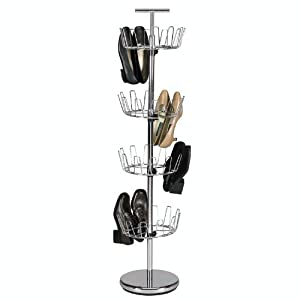 Household Essentials Four-Tier Revolving Shoe Tree Holds 24 Pairs, Chrome