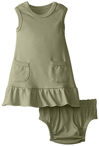 L'Ovedbaby Baby-Girls Newborn Organic Baby-Doll Dress, Sage, 6/9 Months front-686640