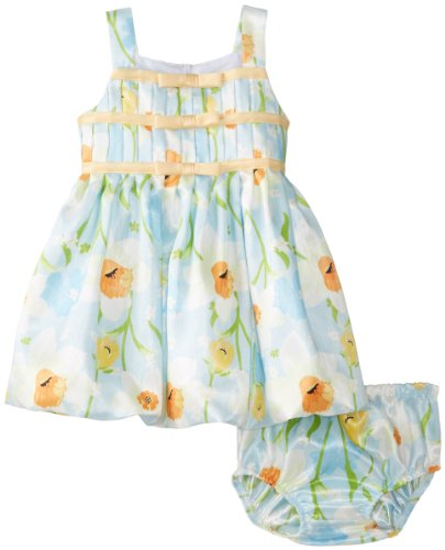 Bonnie Baby Baby-Girls Infant Blue Floral Shantung Dress, Aqua, 18 Months front-896362