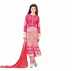 Amyra Women's Georgette Dress Material (AC695-02, Pink)