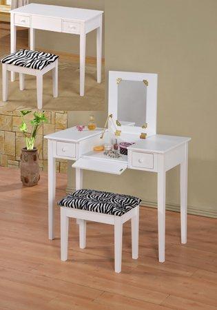 White Bedroom Vanity With Mirror front-61328