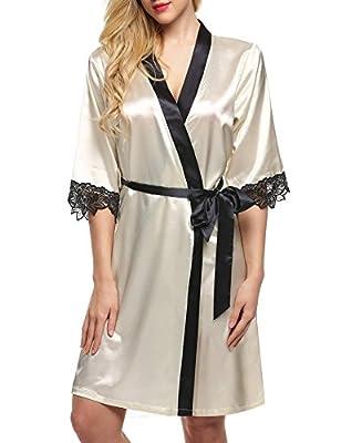Ekouaer Women's Kimono Robe Knee Length Lingerie Sleepwear Short Satin XS-XL