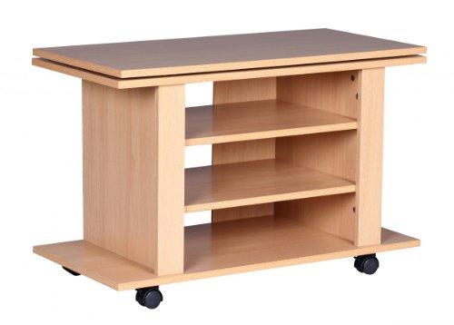 FineBuy-TURN-TV-HiFi-Bank-Fernsehtisch-drehbar-auf-Rollen-rollbar-75cm-breit-38cm-tief-50cm-hoch-3-Ablagen-Board-Schrank-Regal-Mbel-Fernsehschrank-Lowboard-Drehteller-Phonoschrank-Unterschrank-Buche