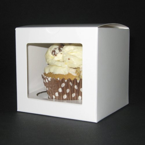 50 blanco llanura cajas de la magdalena (ventana de PVC Cuadrado) insertos incluido