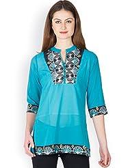 Ayaany Women BLUE Polyester Printed Kurti
