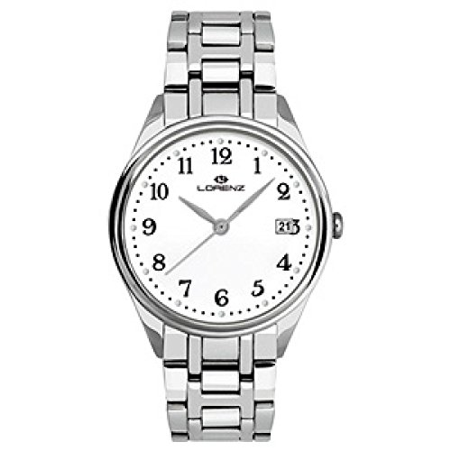 Lorenz 027161AA Reloj de Cuarzo Para Hombre Acero Quandrante Correa de Acero Blanco