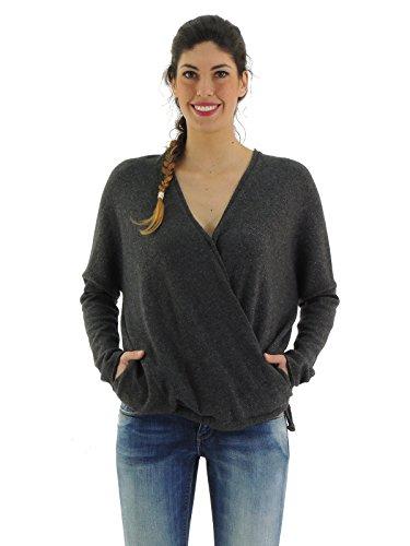 Brunello Cucinelli maglia donna maglione lana incrociato M1M712502 (L, GRIGIO)
