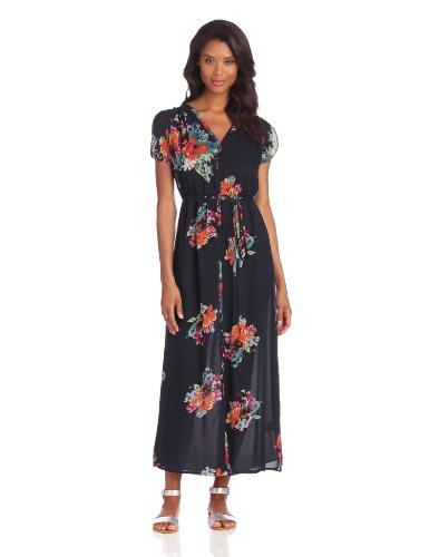 Joie Women's Lunaria B Floral Printed Georgette Maxi Dress, Dark Navy, Medium