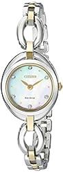 Citizen Eco-Drive Women's 'Silhouette' Quartz Stainless Steel Casual Watch, Color: Two Tone (Model: EX1434-55D)