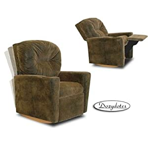 Contemporary Rocker Recliner Upholstery Brown Bomber Fabric by Dozy Dotes