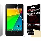 [Pack de 3] TECHGEAR Google Nexus 7 2 II 2ème gén Version 2013 Film de Protection Ultra Clair pour Écran LCD avec Chiffon de Nettoyage & Carte d'Application