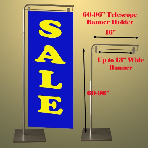 "Indoor Banner Poster Flag Stand 60 "" - 96"" Tall Telescopic Hanger Stand W/ Base"