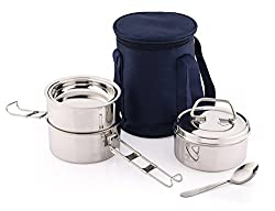 Pigeon AROMA 3 Lunch Box, Silver