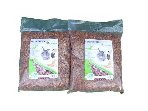Litière de noix de coco grossier, 20 litres (0,69 euros/litre), s'utilise comme revêtement pour les sols de cage, notamment les cages à lapins, cobayes, hamster, dègues, rats et autres rongeurs, convient également aux serpents, tortues et autres reptiles