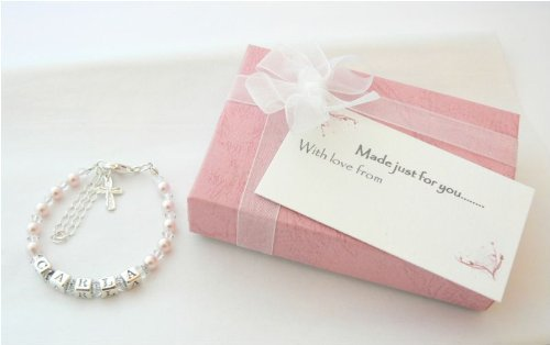 Childrens Name Bracelet - Silver Crystal And Pearl front-180590