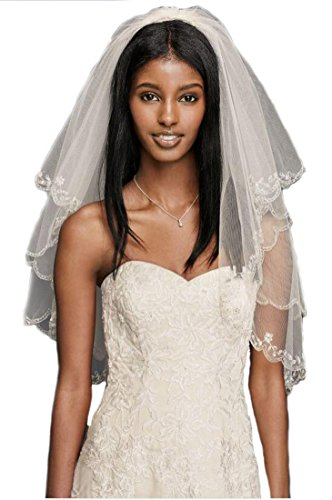 Top-Sexy SparklyCrystal 2T 2 Tier Silver Lined Beaded Edge Fingertip Length Bridal Wedding Veil 04 (Light Ivory)