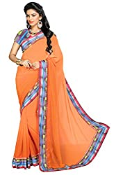 Aar VEE Orange Lace Border Saree