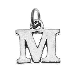 "Sterling Silver Initial Letter ""M"" Alphabet Charm 15mm (1)"