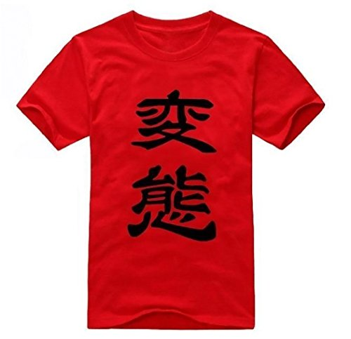 "Japanese "" HENTAI "" Character T-shirt [ Red L Size ] Anime Costume"