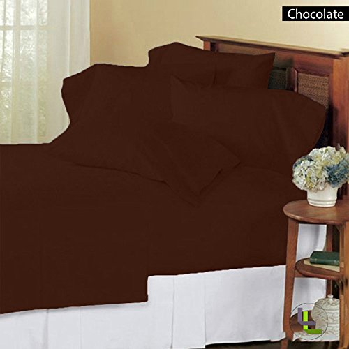 Bed Bee Full Xxl 300Tc Wonderful 1Pc Flat Sheet, 1Pc Fitted Sheet & 4 Pillowcases Solid (Pocket Size: 11 Inches) Chocolate Solid 100% Egyptian Cotton front-1034767