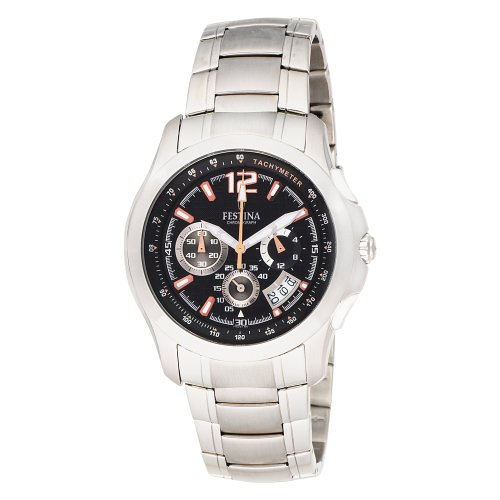 Festina Men's F16291/6 Travelers Chrono Stainless Steel Textured Dial Watch