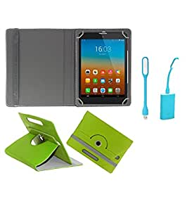 Gadget Decor (TM) PU Leather Rotating 360° Flip Case Cover With Stand For Lava QPAD R704 Tablet  + Free USB Led Light - Green