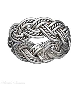 Sterling Silver Braided Celtic Knot Weave Rope Ring Size 6