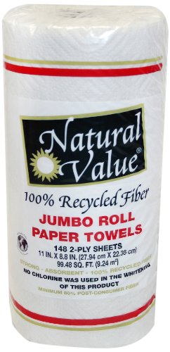 Natural Value 100% Recycled Fiber 2 Ply Jumbo Paper Towels, (Pack of 24) - 1