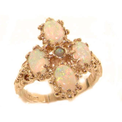 Heavy Weight Victorian Design Solid Rose Gold Natural Very Fiery Opal Ring - Size 8.75 - Finger Sizes 5 to 12 Available