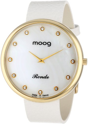 Moog Women's Watch Time to Change M41671-118 Analogue Quartz White Dial Calfskin Leather Strap Full Grain Effect White