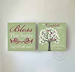 MuralMax - Custom Family Tree & Quote - Stretched Canvas Wall Art - Memorable Anniversary Gifts - Unique Wall Decor - Color - Green - 30-DAY - Set Of 2 - Size - 20 x 20
