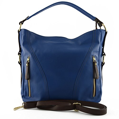 Borsa Donna A Tracolla In Pelle Colore Blu E Marrone - Pelletteria Toscana Made In Italy - Borsa Donna