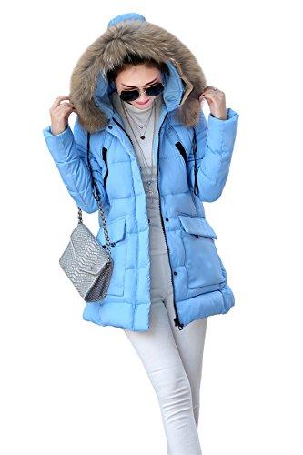 YMING Donna Giubbino Cappotto Con Cappuccio Parka Cappotti Invernali Blu L