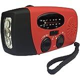 Radio (AM / FM) + Lampe de poche LED + Dynamo + Panneau solaire + Chargeur pour Téléphones cellulaires avec câble USB, Idéal pour le camping et/ou urgence, Fonctionne avec iPhone 4 / 4S, Android, smartphone, et d'autres périphériques USB, Modèle HY-88 (couleur rouge)