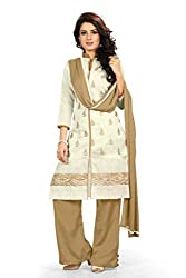 BanoRani Cream Color Chanderi Embroidery UnStitched Dress Material(Plazzo)