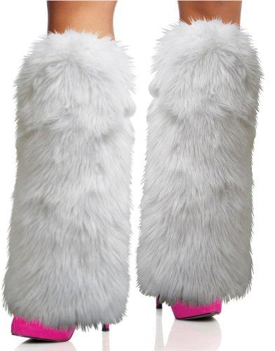 Rave Diva traje blanco Sexy Leg Warmers Furry Fuzzy